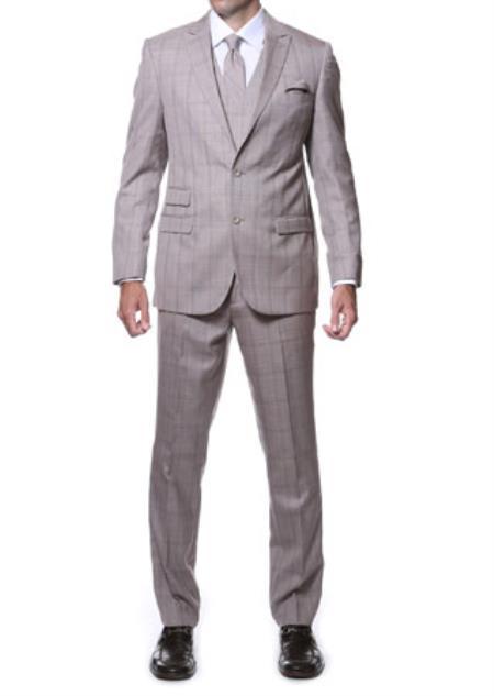 Product# JSM-1539 Zillo Sierra 3 Piece Tan Vested Slim Fit Plaid Suit
