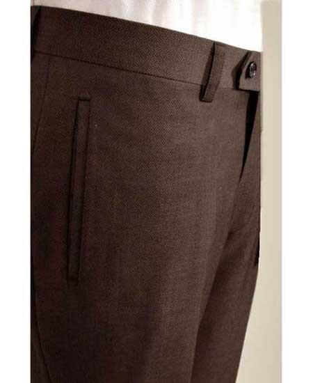 Product# SD282 Tiglio Men's Brown Luxe Wool Italian Textured Flat Front Dress Pant