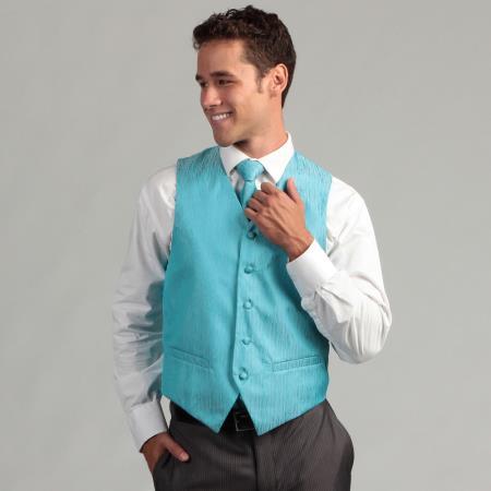 Product# PN_G47 turquoise ~ Light Blue Stage Party 4-Piece Vest Set