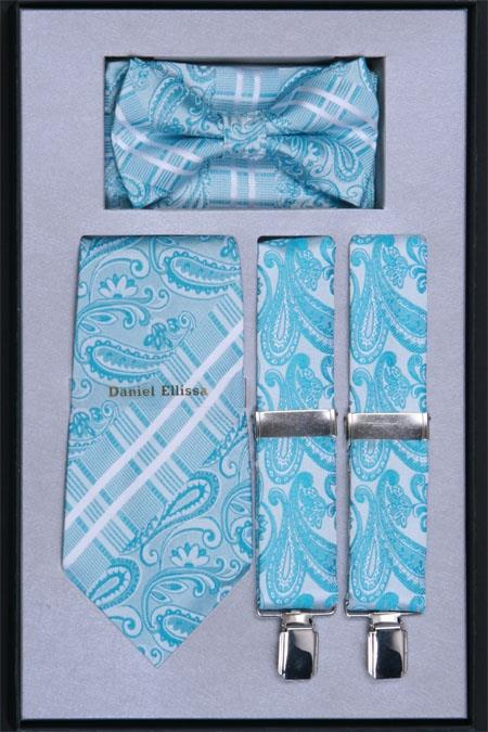 Product# TW44 Suspender, Tie, Bow Tie ~ Bowtie and Hanky Set turquoise ~ Light Blue Stage Party