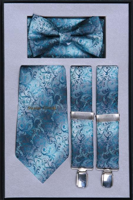 Product# RG85 Suspender, Tie, Bow Tie ~ Bowtie and Hanky Set turquoise ~ Light Blue Stage Party
