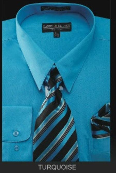 Product# TU7901 Dress Shirt - PREMIUM TIE - turquoise ~ Light Blue Stage Party