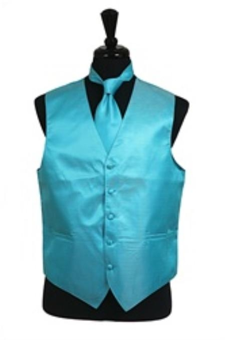 Horizontal Rib Pattern Vest Tie Set turquoise ~ Light Blue Stage Party