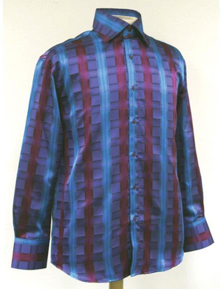 Product# JSM-5848 Men's High Collar Fashion ~ Shiny ~ Silky Fabric Turquoise Cube Stripe Style Shirt