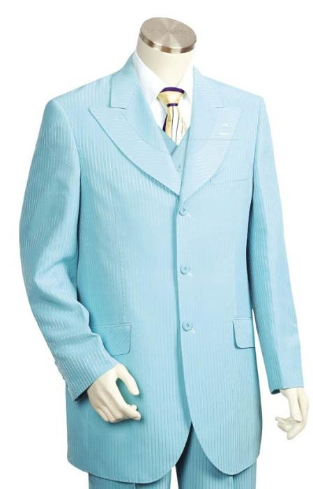 HJ2543 Long Long length Zoot Suit in turquoise ~ Light Blue Stage Party