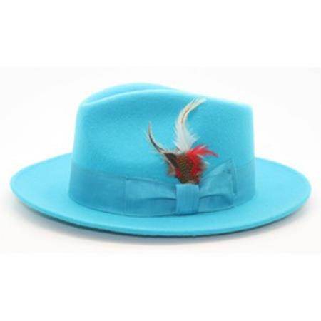 Product# PNL65 Turquoise Wool Fabric Fedora suit hat