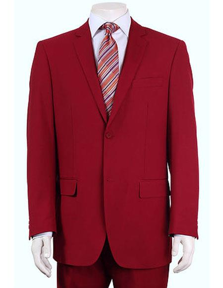 Product# JSM-6138 Men's Vitali Single Breasted Authentic 2 Button Red Slim Fit Suit