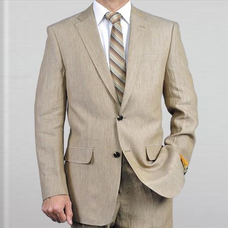 Product# EWS3 & Kids Boys Sizes Elegant, Natural & Light Weight 2-Btn Notch Lapel Real Linen Suit Spring/Summer Beige