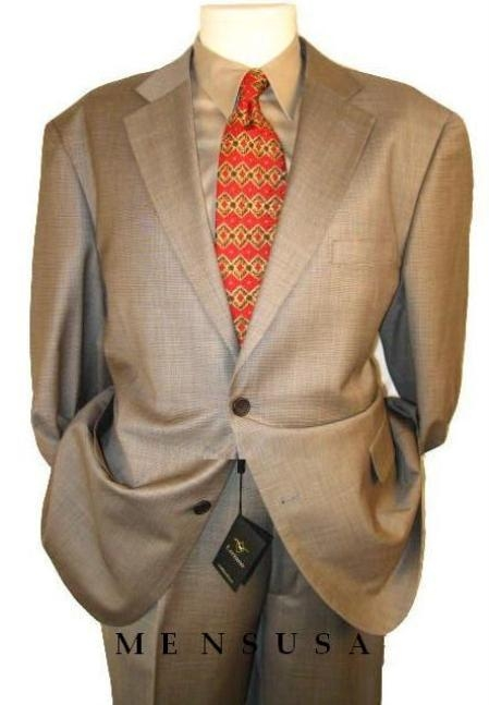 HW0382 2 btn Taupe-Beige Checker Mini Pindots Teakweave Nailhead Salt & Pepper Birdseye Patterned Suit