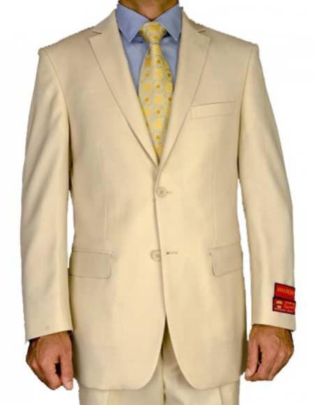 Men's Mantoni 2 Button Beige Notch Lapel 100% Wool Double Vent Suit