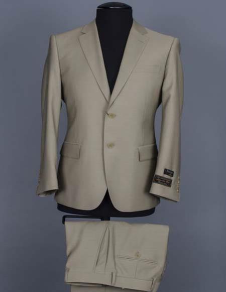 Product# JSM-2216 Men's Tiglio 2 Button Beige Italian 100% Wool Notch Lapel Modern Fit Suit