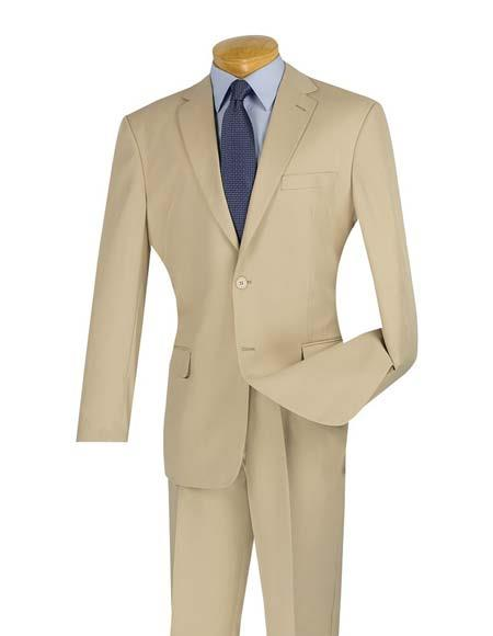 Product# JSM-2914 Men's 2 Button Cheap Slim Fit Notch Lapel Beige Suit With Flat Front Pant