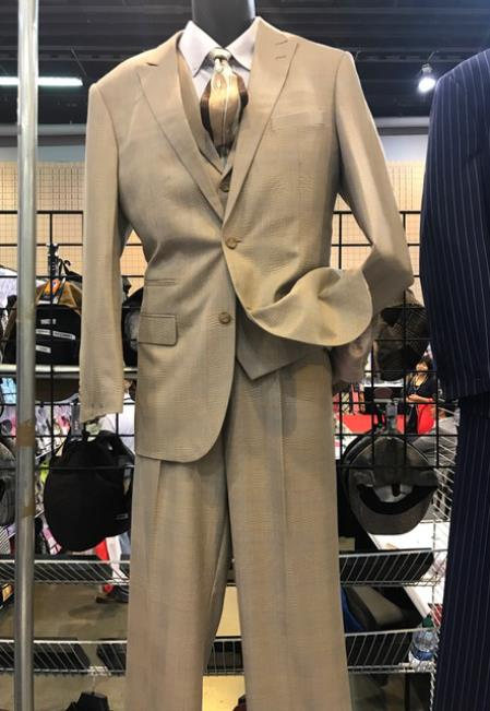 Product# JSM-6919 Mens Vittorio St Angelo 2 Button Peak Lapel Suit Beige