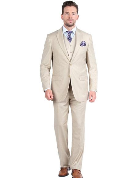 Product# GD1297 Giorgio Fiorelli Men's Single Breasted 2 Button 3 Piece Double Vents Beige Suit