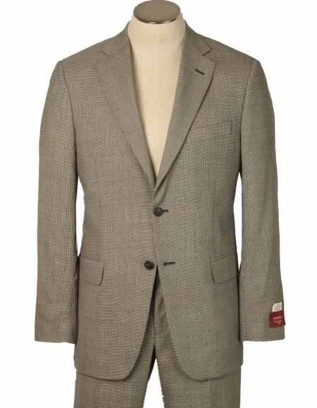 Men's 2 Button Houndstooth 100% Worsted Wool Made In America/Usa Beige Suits