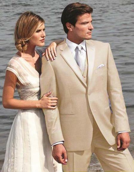 Product# G5RE Stunning Beige ~ Tan khaki Color ~ Beige Two Button Tuxedo 7 days delivery