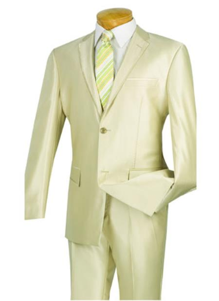 2 Buttons Champagne Beige~Ivory~Creamish 2 Piece With Contrast Trim, Side Vents, Flat Front Pants, Shark Skin Shiny Suit