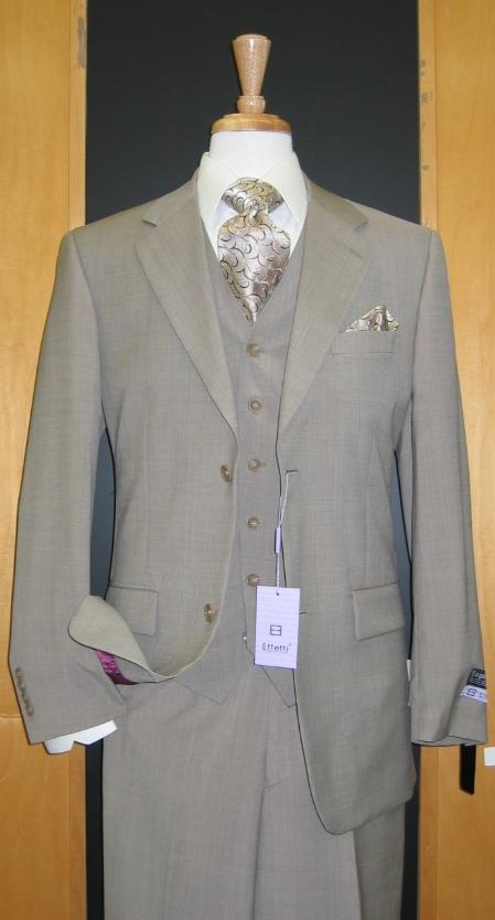 ER489 Two Button Three Piece Beige Wool Fabric and Cashmere Flat Front three piece suit