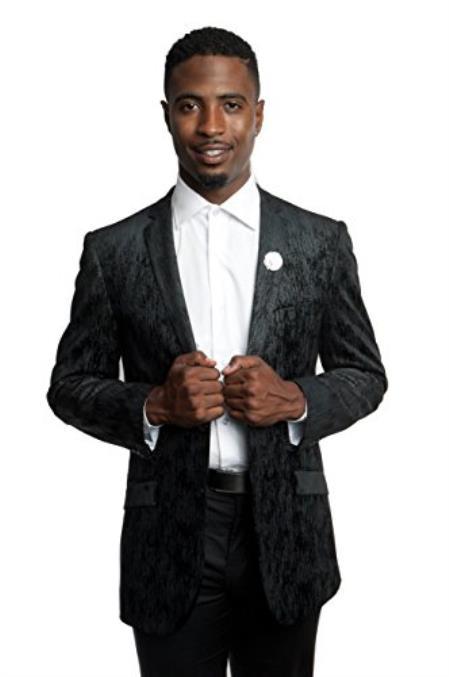 Men's Tazio 2 Button Black Slim Fit Blazer Jacket