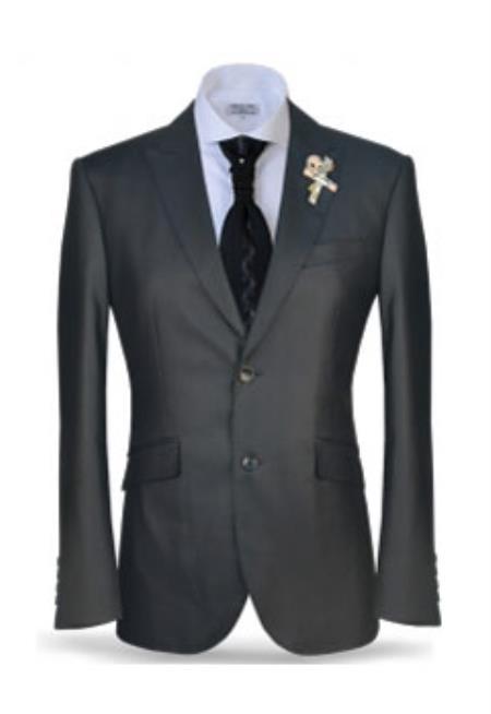 Men's 2 Button Black Peak Lapel Suit Fashion Suit (Jacket + Pants)