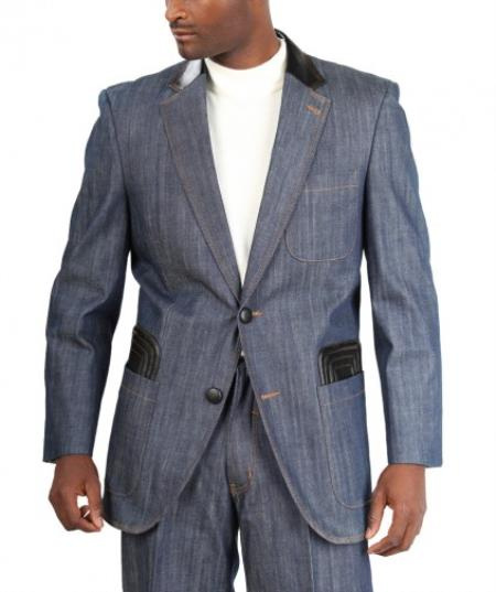 Product# AC-169 Fashion Two Button Cotton Timmed Denim Suit Two Button With Leatherette