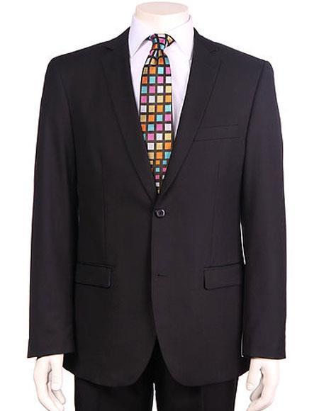Product# JSM-6136 Men's Vitali Single Breasted Authentic 2 Button Black Slim Fit Suit