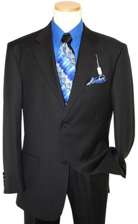 Product# NQ3567 Two Button Liquid Jet Black Shadow tone on tone Stripe ~ Pinstripe Suit