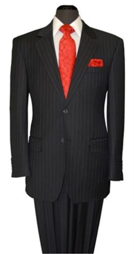 Two Button Liquid Jet Black Stripe ~ Pinstripe Suit