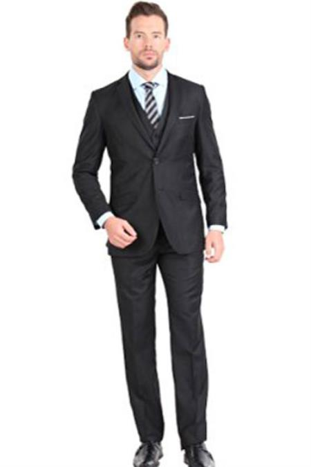 Product# SM1307 Liquid Jet Black Two Button Notch Collar Single Breasted 3 Piece Slim narrow Style Fit Vested Suit