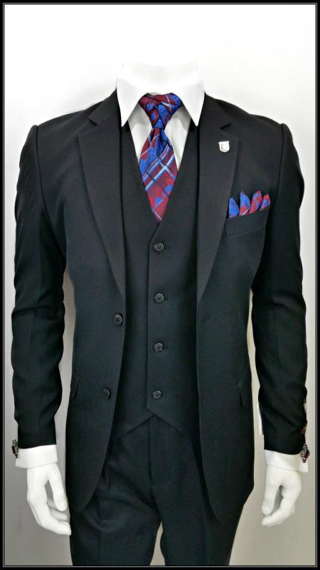Alberto Nardoni Best men's Italian Suits Brands Single Breasted 3 Piece Black 2 Button Notch Lapel suit