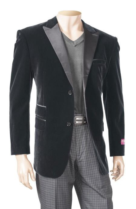 Product# SM5197 Black Men's Big And Tall Blazers Velvet ~ Velour Clearance Cheap Blazer / Sport Coat