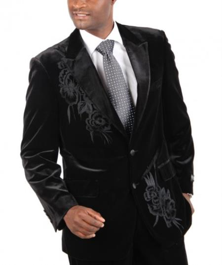 AC-176 Fashion Two Button Cotton Timmed Velvet 1940s men's Suits Style Two Button with Embroidery Black,Navy