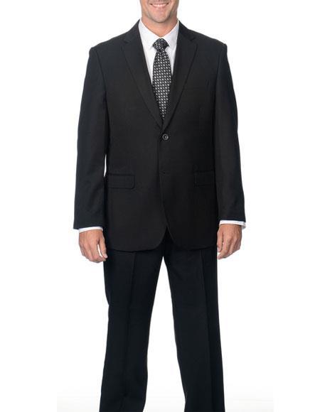 Product# GD1364 Caravelli Men's Classic Fit 2 Button Black Notch Lapel Double Vent Suit