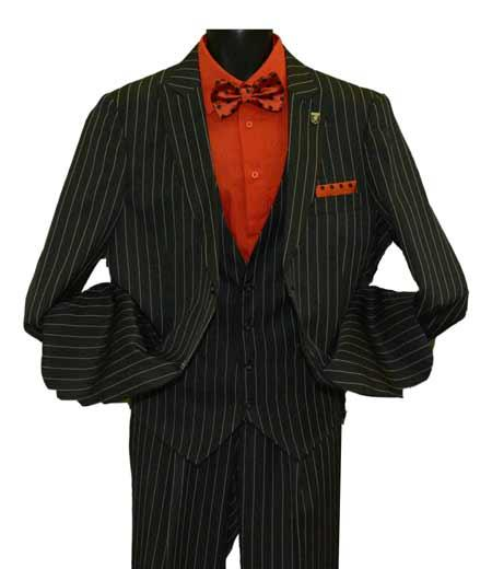 Product# SD215 Men's Black Peak Lapel Striped Two Button Single Breasted Vested Suit