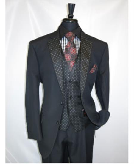 Product# JSM- 1350 Men's 2 Button Black Notch Lapel Vested Suit Jacket