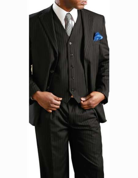Product# JSM-2585 Men's 2 Button Banker Pinstripe ~ Stripe Notch Lapel 3 Piece Vested Black Suit