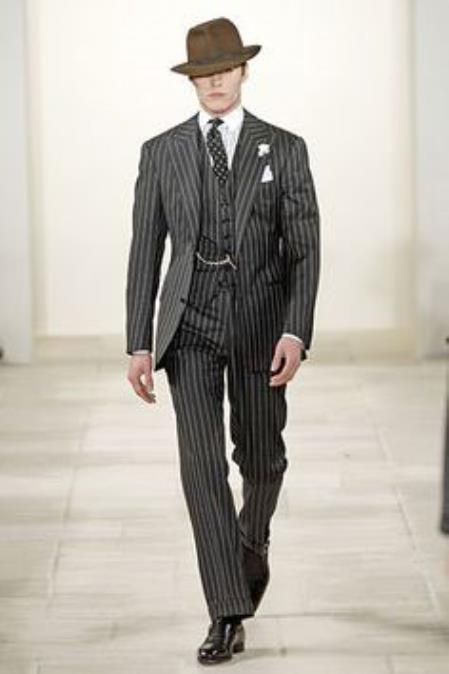 Product# JSM-4835 2 Button Black and Bold Chalk Gangster White Stripe Vested Big Peak Lapel 1920 1930 Suit Pleated Pants