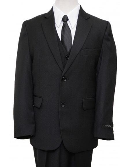 Product# JSM-4391 Husky Cut Boy Suit 2 Button Style Vested Solid Black Suits For Teenagers
