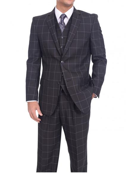 Men's Single Breasted Two Button Classic Fit Solid Black/Blue Windowpane Three Piece Suit