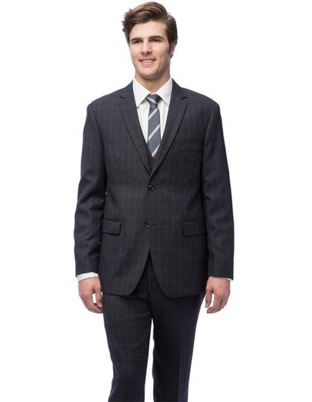 Product# GD1365 Caravelli Men's Single Breasted Black Windowpane Vested Slim Fit 2 Button Suit