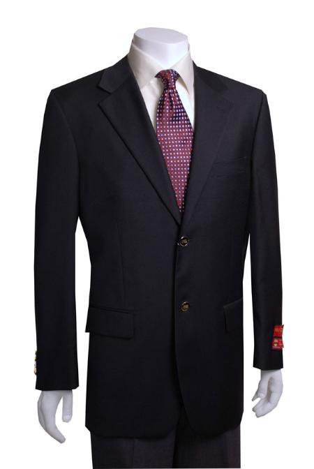 2-button Liquid Jet Black Wool Fabric Jacket/Blazer Online Sale ( +Women)