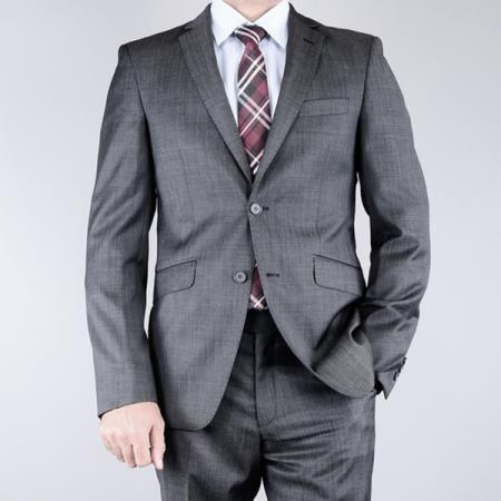 Product# E333 Mantoni Slim narrow Style Fit patterned Liquid Jet Black 2-button Wool Fabric Suit