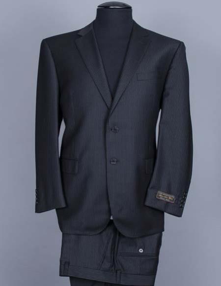 JSM-2217 Men's Tiglio 2 Button Italian Notch Lapel 100% Wool Stripe