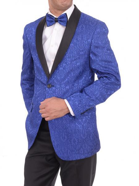 Men's 2 Button Satin Shawl Lapel Blue Floral Slim Fit Blazer Sportcoat Paisley Royal Blue Tuxedo