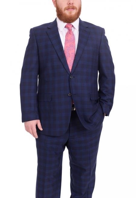 SM4906 Mens Plaid Pattern Portly Fit Blue