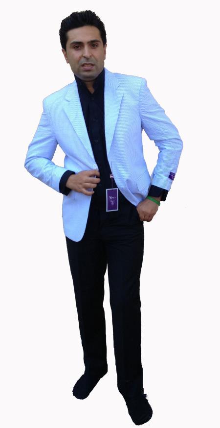 Product# R3FF Two-Button Blue Summer Cheap priced Mens Searsucker Seersucker Sale Fabric Sport Coat, Jacket, Blazer Online Sale