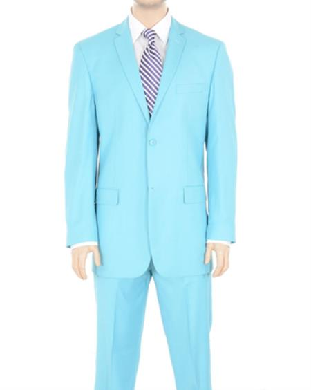 PN74 Two Button Suit Solid Sky Blue