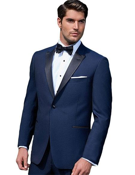 Product# GD1293 Giorgio Fiorelli Men's 2 Button Tuxedo Blue Modern Fit Double Side Vents Suit