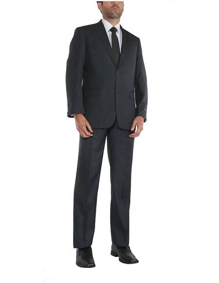 Men's 2 Button Single Breasted Two-Piece Classic Fit Blue Suit