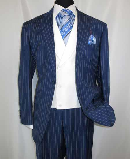 Product# JSM-203 Men's 2 Button Blue Single Breasted Chalk Bold Stripe ~ Pinstripe Shawl Collar Vested Side Vent Suit